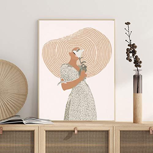 QAZEDC Art print canvas decoratief schilderij Boho Wall Decor Boven Bed Art Terracotta Minimalistische Tekening Art Schilderen Abstract Vrouw Portret Poster Canvas Print Home Decor