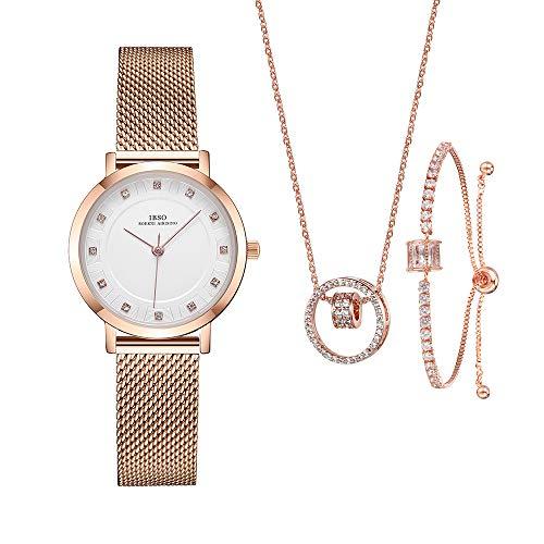 Conjunto de Reloj de Pulsera de Cuarzo para Mujer