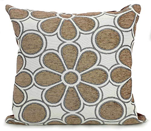 Cushions Large New Soft Chenille Daisy Scatter Cushions or Covers 5 colours (Beige, 17'x17' Cover only)