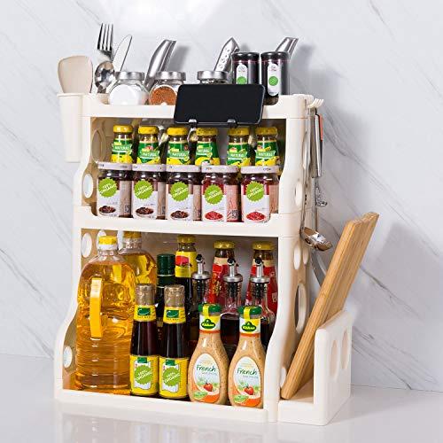 Spice Rack,3-Tier Multi-Function Kitchen Spice Rack Organizer for Countertop,Seasoning Organizer,Kitchen Rack Organizer for Cabinets Can Sauce Storage(Beige-white)