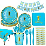 Amycute 130 Pezzi Feste di 1°Compleanno, 1 Compleanno Piatti, Bicchieri, Tovaglia, Tovaglioli, Striscioni, Cannucce, Utensili, 1 Compleanno Bambini Festa