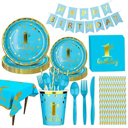 Amycute 130 piezas para fiestas de cumpleaños, 1 cumpleaños, platos, vasos, manteles, servilletas, banderines, pajitas, utensilios, 1 cumpleaños para niños.