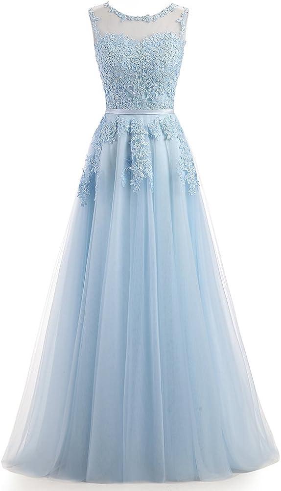Ever Love A-Linie Lang Spitze T¨¹ll R¨¹ckenfrei Abendkleid Ballkleid Hochzeit Brautjungfernkleid mit Tr?ger Sky Blau