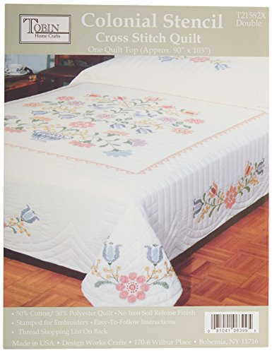 Colonial Stamped Cross Stitch Quilt-90 Inch x103 Inch