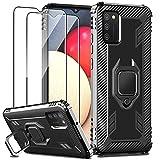 IMBZBK Funda para Samsung Galaxy A02S/ M02S Carcasa + [2 Pack] Protector Pantalla Cristal Templado, [Soporte Giratorio de 360 Grados con Anillo de Dedo][Grado Militar Anti-Golpe] TPU-Negro