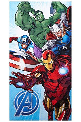 Marvel Avangers badhanddoek met 4 actiehelden Iron Man, Hulk, Captain America, Thor, strandlaken gemaakt van 100% katoen, Oeko Tex Standard 100