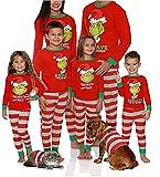 Pijamas de Navidad a Juego con la Familia Camisetas de Manga Larga con Estampado de Santa Pantalones de Rayas Elásticas 2 Piezas Trajes de Dormir (Rojo- Hombre, XL)