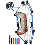 "Southwest Archery Ninja Kids Youth Compound Bow Kit - Fully Adjustable 20-29"" Draw 10-20LB Pull - 55% Let Off - Pre-Installed Arrow Rest - Finger Saver String - RH, Blue"