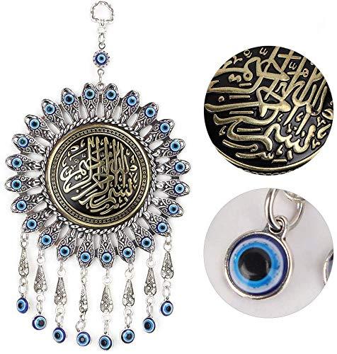 HEEPDD Mal de Ojo Azul, Perlas de Cristal Azul Turco Colgante Amuleto Colgante de Pared Adorno para hogar y Oficina Regalo de inauguración de la casa