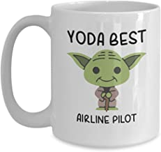 Yoda Best Airline pilot - Novelty Gift Mugs for Star Wars Fans - Co-Workers Birthday Present, Anniversary, Valentines, Special Occasion, Dads, Moms, Family, Christmas - 15oz Funny Coffee Mug