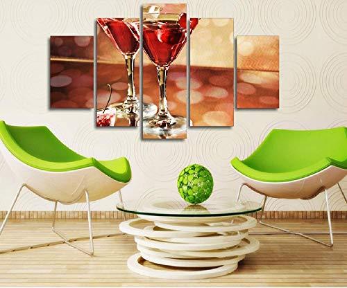 Kunstdruk Op Canvas Hd-Afbeeldingen Frameloze Wijnglas Kers Abstract Olieverfschilderij Huismuur Art Deco Canvas Schilderij