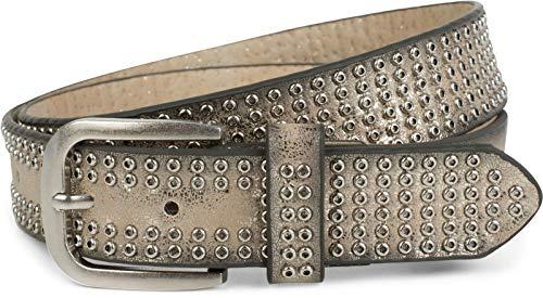 styleBREAKER cinturón de remaches con ojetes «all over», cinturón de remaches «vintage», acortable, unisex 03010078, tamaño:95cm, color:Verde oliva (Ropa)