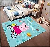 zzqiao Tapis Tapis Salle De Bande Dessinée pour Enfants Dessin Animé Cochon Peggy Vélo Chambre Salon Mignon Ramper Tapis Tapis De Jeu Maison 140 * 200 Cm