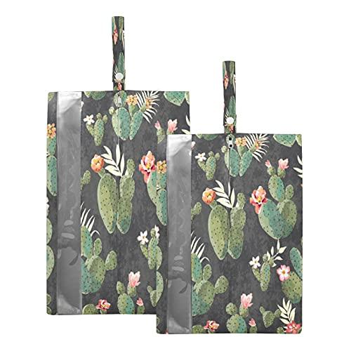 F17 - Borsa da viaggio per scarpe con motivo a fiori tropicali, con foglie di cactus, impermeabile, portatile, leggera, da viaggio, per uomini e donne, 2 pezzi