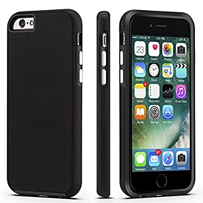 CellEver Compatible with iPhone 6 / 6s Case, Dual Guard Protective Shock-Absorbing Scratch-Resistant Rugged Drop Protection Cover Designed for iPhone 6 / 6S (Black)