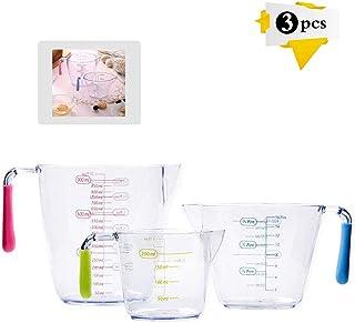 Juego de 3 jarras medidoras de plástico,Taza graduada para leche,Taza Medidora Transparente,vasos medidores cocina plastico Jarra de Medición,Taza Medidora Plastico