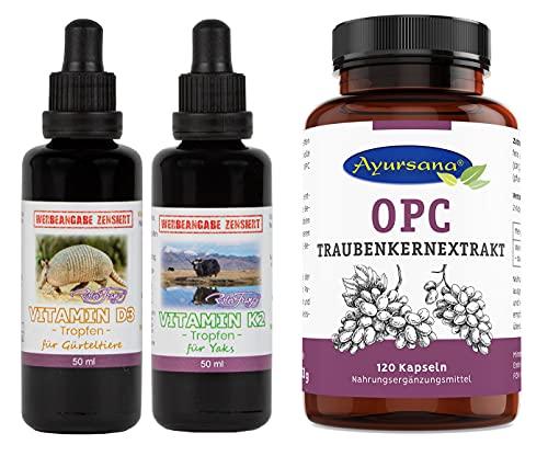 Robert Franz Vitamin D3 Tropfen (50 ml) und Vitamin K2 Tropfen (50 ml) und Ayursana OPC Traubenkernextrakt (120 Kapseln)