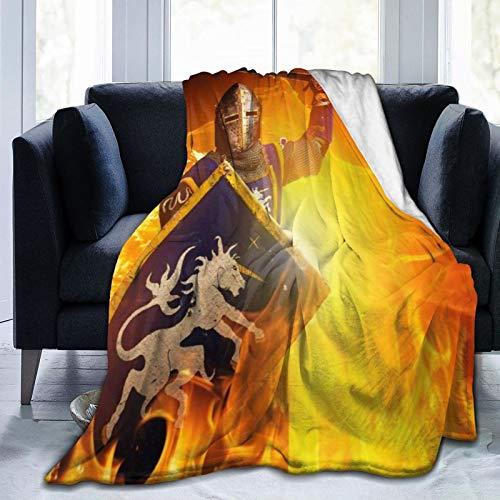 TARTINY Guerrero Antiguo con Espada y Escudo Twin/Double (150x200cm) Manta de Franela Ligera y cálida Suave y cálida para Cama o sofá