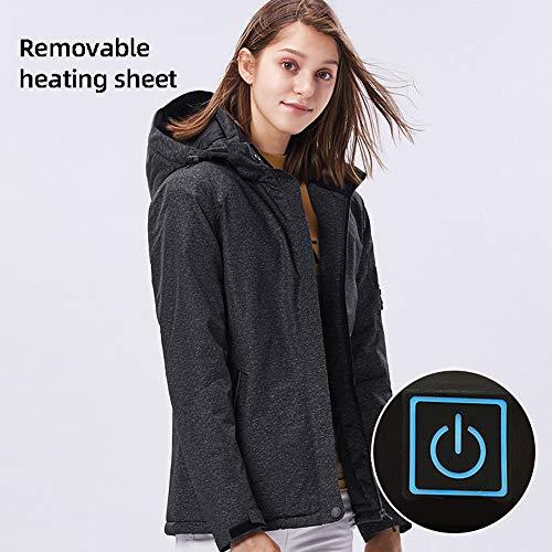 Roboraty Verwarmde damesjas met USB-aansluiting, elektrische, warme katoenen mantel met reflecterende strepen, 3-traps temperatuurregeling, waterdicht en winddicht voor skimotorfietsen 3XL grijs