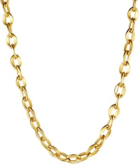 Men Women Chain 3MM/5MM/7MM/9MM/12MM Rolo Necklace, Stainless Steel/Black Gun Plated/18K Gold Plated Rolo Cable Link Necklace, 18