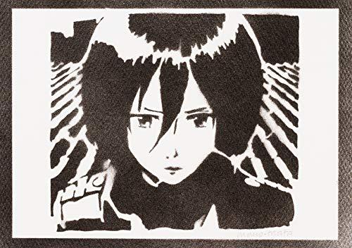 Poster Ataque a los Titanes Mikasa Ackerman Grafiti Hecho a Mano Shingeki No Kyojin - Handmade Street Art - Artwork