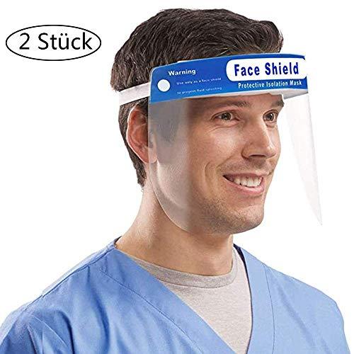 Gesichtsschutzschirm 2 Stück, Schwamm Gesichtsschutz mit Visier Gesichtsschutzmaske Transparent Gesichtsschild Schutzmaske Augenschutz für Waldarbeiter Automobilbau Schleifen Schweißen