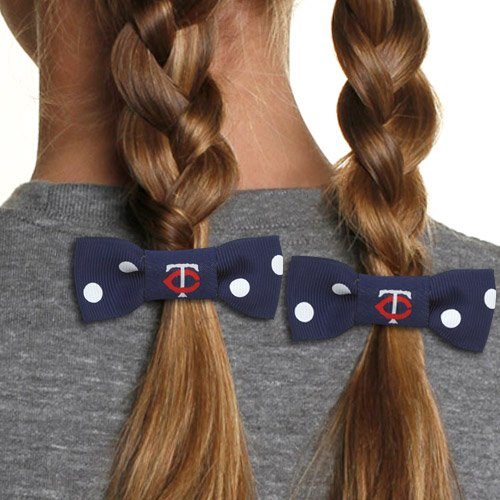 Girl's hair braid bows Twins logo pattern and colors