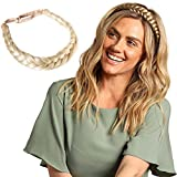 Madison Braids Womens Braided Headband Hair Braid Natural Looking Synthetic Hair Piece Extension - Lulu Two Strand - Platinum