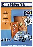 PPD A3 10 Fogli Di Carta Vinile Adesiva Opaca Per Stampanti A Getto D'Inchiostro Inkjet - Sticker Bianco - PPD-381-10