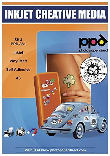 PPD A3 Inkjet Vinyl Aufkleberfolie Weiß Matt Selbstklebend - Speziell beschichtet für vollfarbige Drucke in Fotoqualität - Wasserfest, Reißfest und Strapazierfähig - A3 x 10 Blatt PPD-381-10
