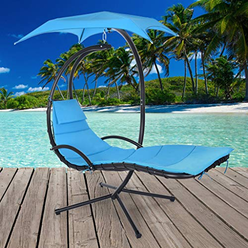 Lanhui Best Choice Hanging Curved Chaise Lounge Chair Swing for Backyard, with Pillow/Canopy,Outdoor Hammock Deck Chair Swing, Stable Steel Frame for Swimming Pool, Seaside Beach, Terrace (Blue)