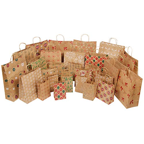 MOMONI 28 Piece (7 Jumbo, 7 Large, 7 Medium, 7 Small) Premium Assorted Sizes Christmas Gift Bags- Kraft Gift Bags Bulk Assortment Christmas Bags- Good for Xmas Party Favors, Goody Gift Bags Large