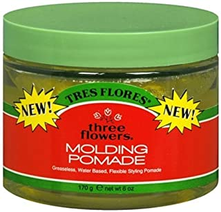 Three Flowers - Tres Flores Molding Pomade Greseless, Water Based, Hair Styling Product, 6 Ounce