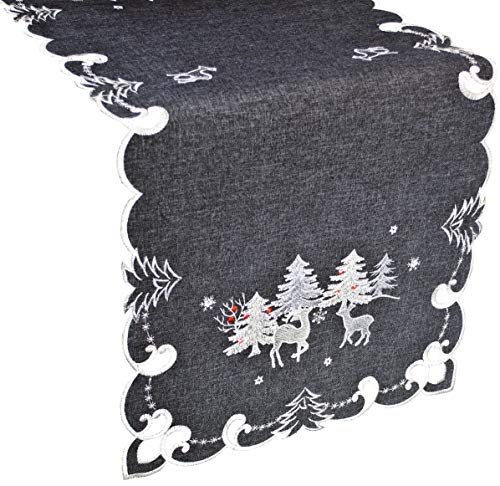 Linens, Art and Things Embroidered Christmas Holiday Silver Reindeer & Christmas Scene on Dark Grey 16W x 33L Rectangle Table Runner Dresser Scarf