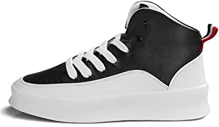 Shangruiqi Fashion Sneaker for Men Sports Shoes Lace Up Style PU Leather High Top Personality Stitching Increased Thick Bottom Shockproof Anti-Wear (Color : White Black, Size : 7 UK)