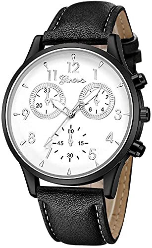 ZFAYFMA Reloj de cuarzo para hombre, de piel, estilo militar, informal, analógico, de cuarzo, con esfera redonda