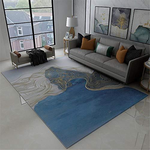 Kunsen decoración casa Home Decoracion Alfombra de Sala de Estar Azul Gris Estilo Moderno Anti-Diapositiva alfombras habitacion 80X120CM 2ft 7.5' X3ft 11.2'