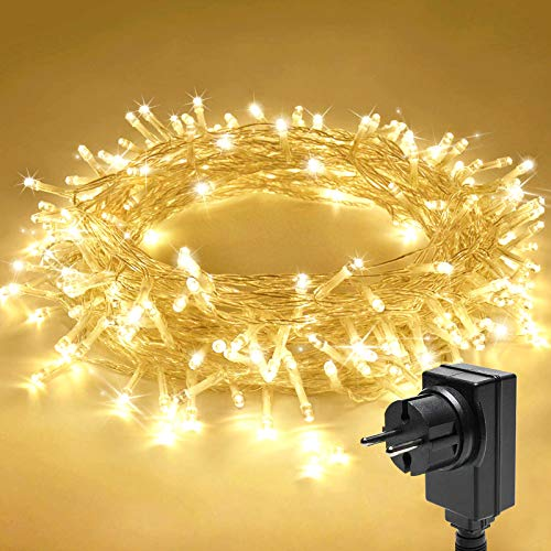 LED Lichterkette, Qxmcov 200 LED Lichterketten mit 8 Flimmer-Modi, Lichterketten Außen für Hochzeit, Weihnachten, Geburtstagsfeiern, DIY Haus Mantel Dekoration, Warmweiß