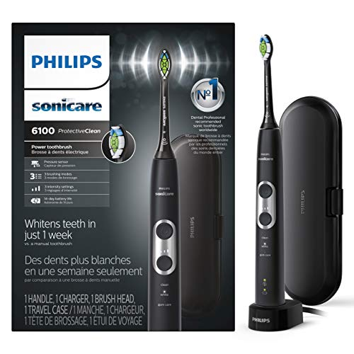 Philips Sonicare ProtectiveClean 6100 Whitening Rechargeable Electric Toothbrush & Travel Case, Black, HX6870/41