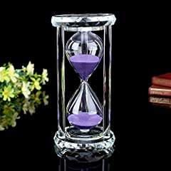 HIGH QUALITY MATERIAL. This sand timer is made of premium glass material. It is not easy to be broken. Please note that this 30-minute crystal hourglass comes in blue or purple randomly. GIFT BOX PACKAGED. The hourglass is wrapped by beautiful gift b...