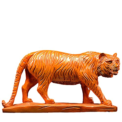 Work of Art Casual Tigre Escultura Ornamento Madera Tallado Grande A Mano Oficina Sala De Estar Estudio Vino Gabinete televisor Mueble Escritorio 40X9X20CM HAODAMAI (Color : Yellow)