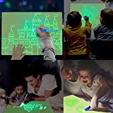 Jeteven Kid Light Drawing Pad, Doodle Board Drawing Tablet Luminescent Board Glow in Dark Painting Developing Educational Toys Gifts for Toddlers Over 3 Years Old (Blue, A3)