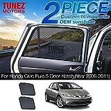 TUNEZ® Parasols - Pare-soleil de fenêtre latérale personnalisés Pare-soleil arrière magnétique de porte latérale (Compatible avec Honda Civic 5dr hatchback Hayon FK FN année 2006-2011)