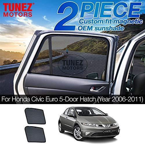 TUNEZ® Sonnenschirme - Benutzerdefinierte Seitenfenster Sonnenschirme Magnetischer Sonnenschutz Heckklappen-Seitenwagen (kompatibel mit Honda Civic Euro 5 Türen Schrägheck FK FN Jahr 2006-2011)