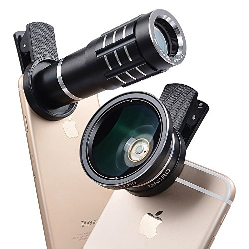 [ 12x ] HD Clip-on Camera Lens, Multi-Function Zoom Telephoto Lens + 0.45X Wide Angle Lens + 12X Super Macro Lens For iPhones, Samsung, other Smartphones (Black)