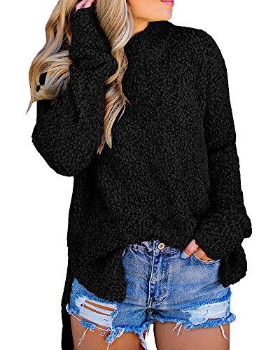 Womens Fuzzy Knitted Sweater Sherpa Fleece Side Slit Full Sleeve Jumper Outwears