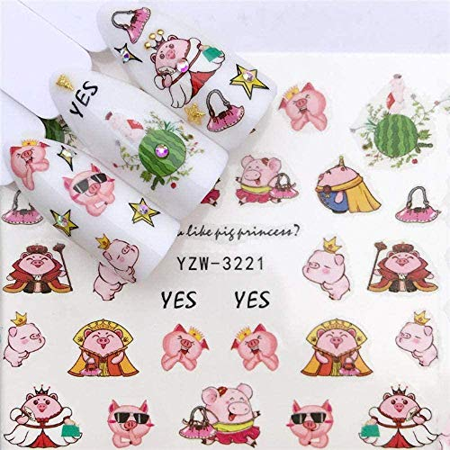 SRTYH Autocollant d'ongle Nail Art Nail Sticker Slider Tattoo Flower Water Decal Bonhomme de neige Full Wraps Designs Decals Make Nails More Beautiful CB