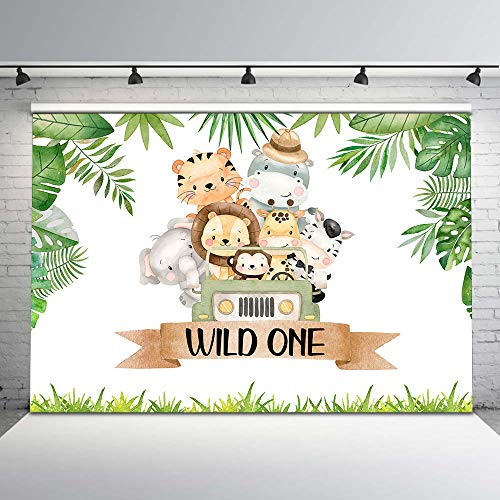 Mocsicka Wild One Birthday Backdrop Safari Party First Birthday Photography Background 7x5ft Vinyl Jungle Animals Birthday Backdrops for Boys Wild One Birthday Party Decorations