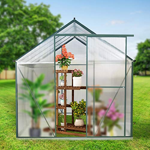 WACASA Aluminum Greenhouse Kit for Outdoors/Backyard,8 x 6-Ft Polycarbonate Walk-in Greenhouse,Garden Greenhouses for Plant Grow Winter