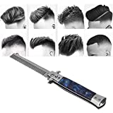Zyyini Slick Comb, Portable Stainless Steel Foldable Combs with Round Smooth Comb Teeth, Suitable for Men Slicked Back Hair Styling